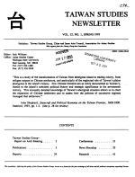 Taiwan Studies Newsletter PDF