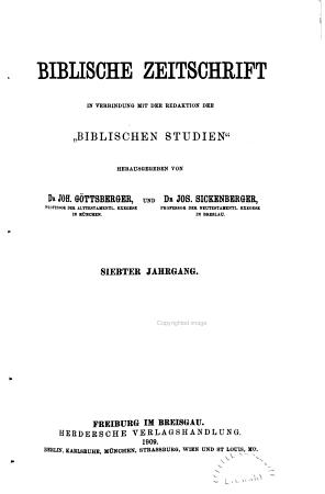 Biblische Zeitschrift PDF