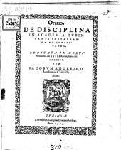 Oratio de disciplina in academia Tubingensi instauranda et conservanda