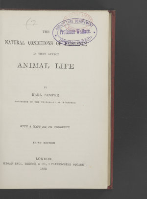 The Natural Conditions of Existence as They Affect Animal Life PDF