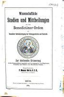 Studien und Mitteilungen zur Geschichte des Benediktiner Ordens und seiner Zweige PDF