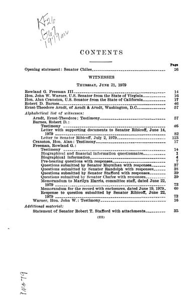 Nomination of Rowland G  Freeman III