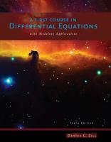 A First Course in Differential Equations with Modeling Applications PDF
