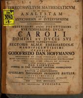 Iureconsultum mathematicum et in specie analystam circa antichresin et interusurium