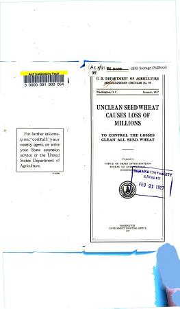 Unclean Seed Wheat Causes Loss of Millions PDF