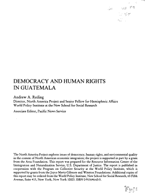 Democracy and Human Rights in Guatemala