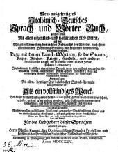 Deutsch-italienisches (und italienisch-deutsches) Dictionarium etc: Band 3