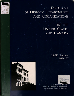 Directory of History Departments and Organizations in the United States and Canada PDF