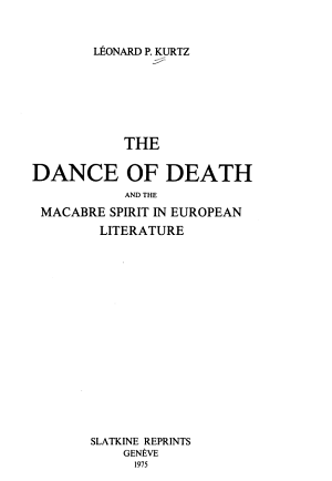The Dance of Death and the Macabre Spirit in European Literature PDF