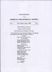 Proceedings, American Philosophical Society (vol. 1, no. 1)