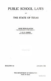 Public School Laws of the State of Texas