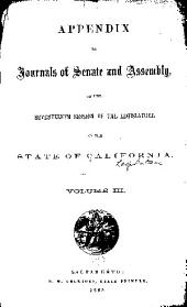 Appendix to the Journals of the Senate and Assembly: Volume 3
