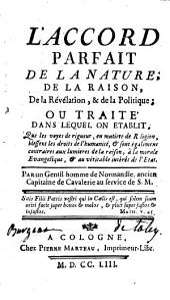 L'accord parfait de la nature et de la raison, de la Révélation et de la politique