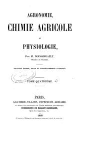 Agronomie, chimie agricole et physiologie: Volume4