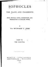 The Plays and Fragments  The Electra PDF