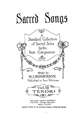 Sacred songs: a standard collection of sacred solos by the best composers, Volume 3