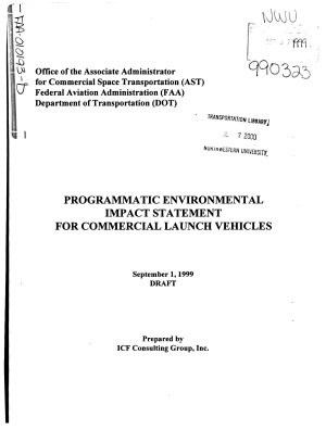 Programmatic Environmental Impact Statement for Commercial Launch Vehicles