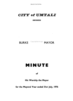 Minute of His Worship the Mayor