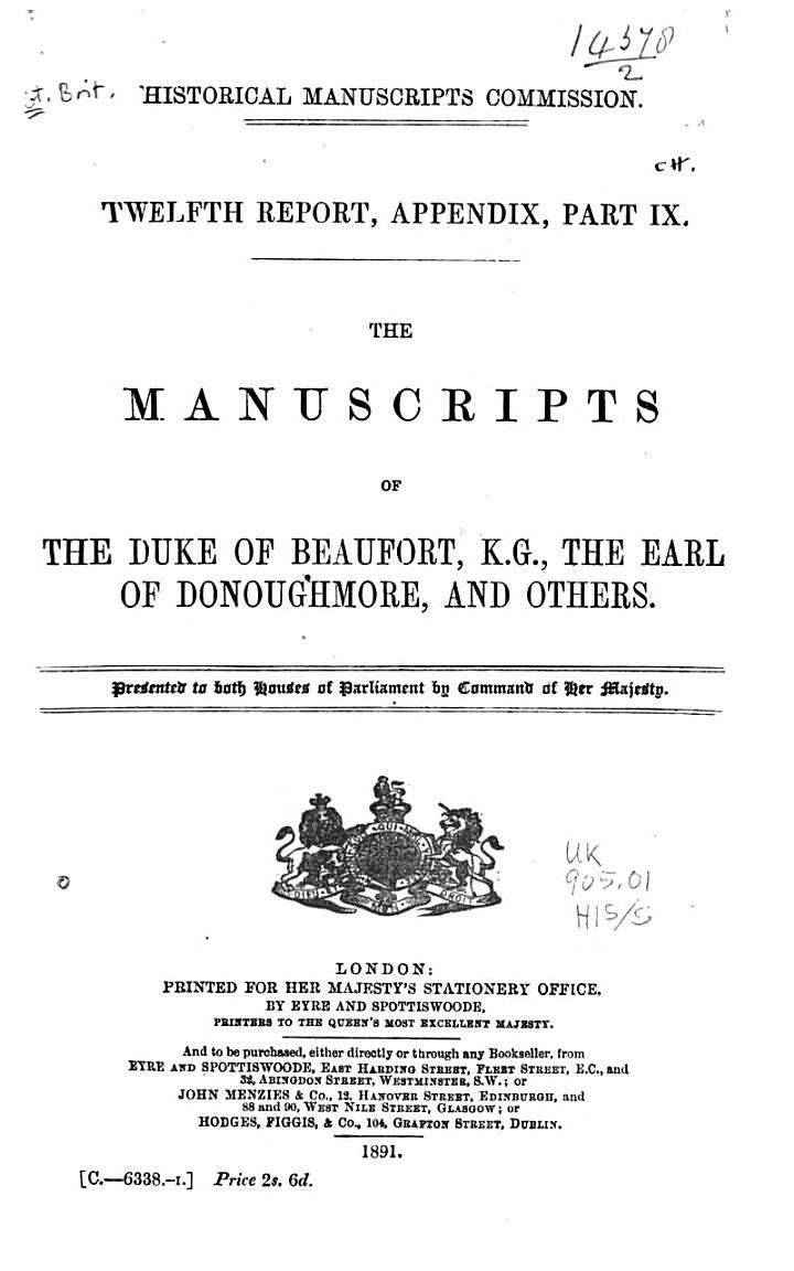 The Manuscripts of the Duke of Beaufort
