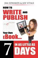 How to Write and Publish Your Own EBook in as Little as 7 Days PDF