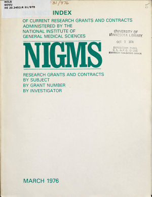 Subject Index of Current Research Grants and Contracts Administered by the National Institute of General Medical Sciences PDF