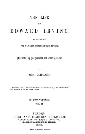 The Life of Edward Irving  Minister of the National Skotch Church  London PDF