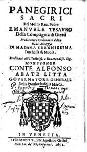 Panegirici Sacri Del ... Padre Emanvele Tesavro Della Compagnia di Giesù ...