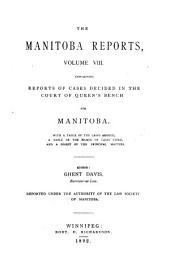 The Manitoba Reports: Volume 8