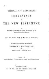 Critical and Exegetical Commentary on the New Testament: Volume 9