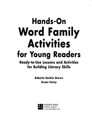 Hands On Word Family Activities for Young Readers