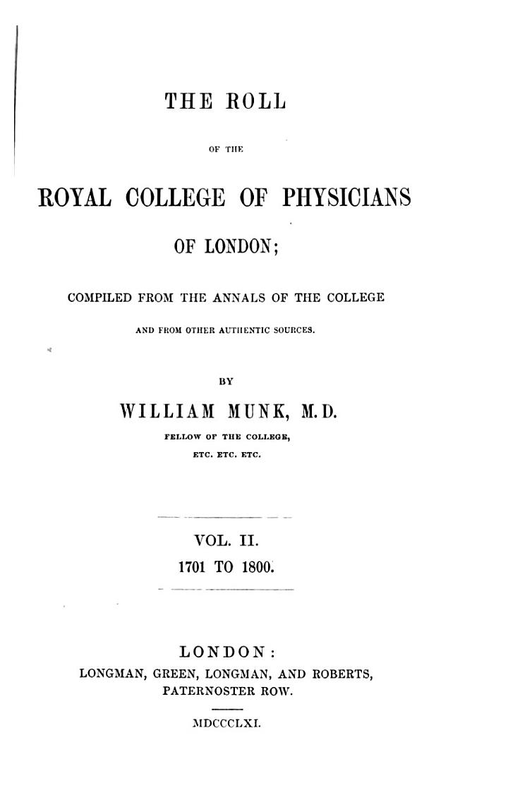 The roll of the Royal college of physicians