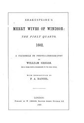 Shakespeare's Merry Wives of Windsor: The First Quarto, 1602