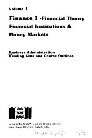 Business Administration Reading Lists and Course Outlines  Finance I