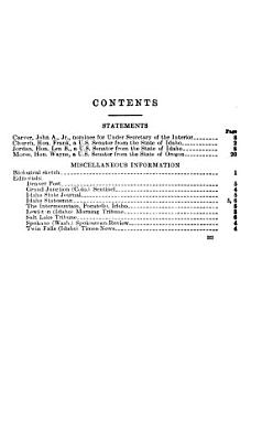 Hearings  Reports and Prints of the Senate Committee on Interior and Insular Affairs PDF