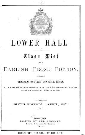 Class List for English Prose Fiction PDF