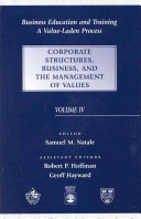 Business Education and Training  Corporate structures  business  and the management of values PDF