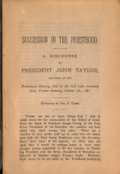 Succession in the Priesthood: A Discourse
