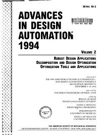 Advances in Design Automation  1994  Robust design applications  Decomposition and design optimization  Optimization tools and applications PDF