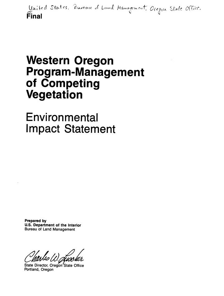 Western Oregon Program-management of Competing Vegetation
