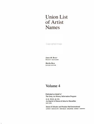 Union List of Artist Names  Q Z
