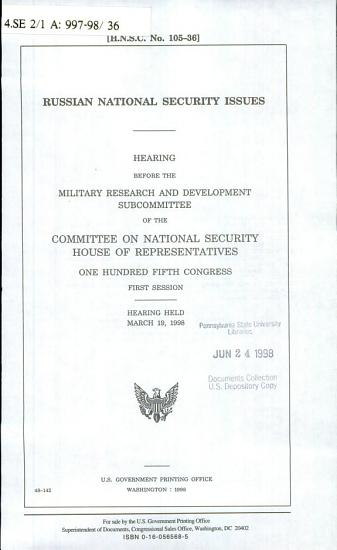 Russian National Security Issues PDF