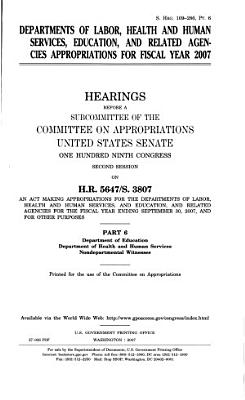 Departments of Labor  and Health and Human Services  Education  and related agencies appropriations PDF