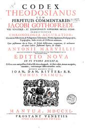 Codex Theodosianus: Volume 1