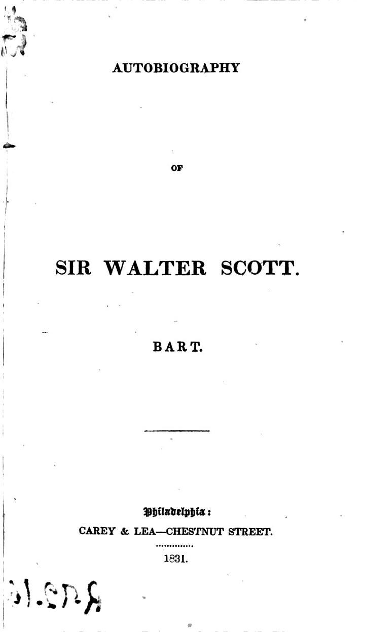 Autobiography of Sir Walter Scott