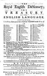 The Royal English Dictionary Or A Treasury Of The English Language To Which Is Prefixed A Comprehensive Grammar Of The English Tongue The Third Edition Improved Book PDF
