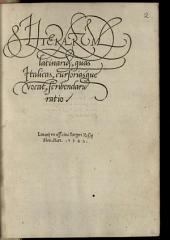 Litterarum latinarum, quas Italicas, cursoriasque vocant, scribendarum Ratio