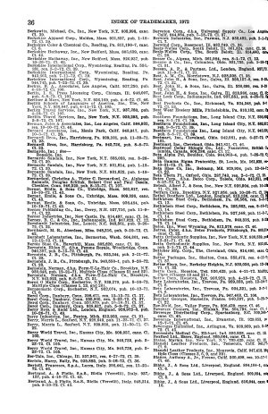 Index of Trade marks Issued from the United States Patent Office
