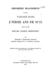 Photometric Measurements of the Variable Stars B Persei and DM. 81>0 25, Made at the Harvard College Observatory