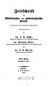 Zeitschrift für Philosophie und philosophische Kritik: Band 30