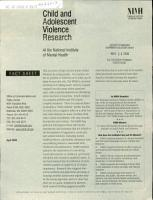 Child and Adolescent Violence Research at the National Institute of Mental Health PDF